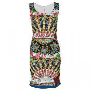 Dolce and Gabbana Multicolour Floral Fans Print Ruched Sleeveless Silk Dress S