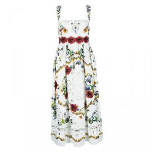 Dolce and Gabbana White Floral Printed Embroidered Poplin Intaglio Dress