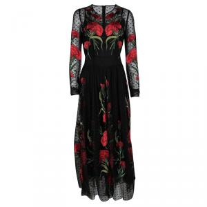 Dolce And Gabbana Black Floral Embroidered Swiss Dot Tulle Dress L
