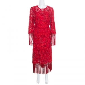 Dolce and Gabbana Red Carnation Patterned Cotton Guipure Lace Fringed Maxi Dress XL