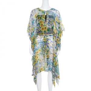 Dolce and Gabbana Yellow Floral Printed Sheer Silk Belted Kaftan M