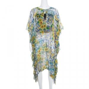 Dolce and Gabbana Yellow Floral Printed Sheer Silk Kaftan L
