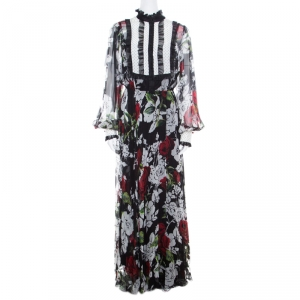 Dolce and Gabbana Black Floral Printed Silk Contrast Bib Detail Long Sleeve Maxi Dress L