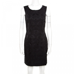 Dolce and Gabbana Black Floral Embroidered Jacquard Sleeveless Dress S