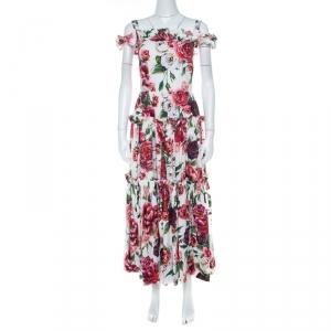 Dolce & Gabbana Multicolor Peony Print Cotton Poplin Cold Shoulder Midi Dress S