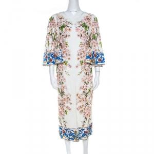Dolce & Gabbana Muticolor Floral Applique Detail Silk Jacquard Sheath Dress L
