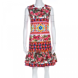 Dolce and Gabbana Multicolor Print Textured Cotton Mambo Flounce Dress M