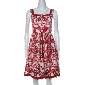Dolce and Gabbana Red and White Floral Printed Sicilian Dress M