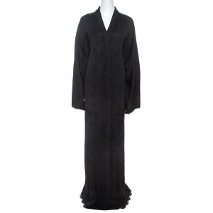 Dolce and Gabbana Black Silk Lace Detail Abaya M