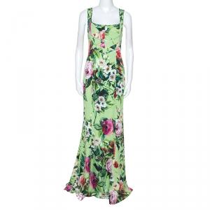 Dolce and Gabbana Green Floral Print Sleeveless Maxi Dress M