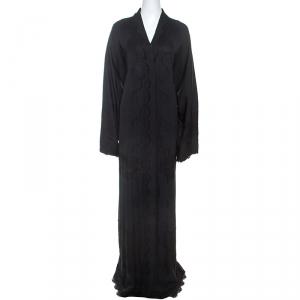 Dolce & Gabbana Black Silk Lace Detail Abaya M