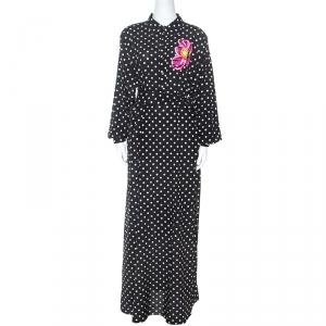 Dolce and Gabbana Black Polka Dot Silk  Applique Detail Maxi Dress XL