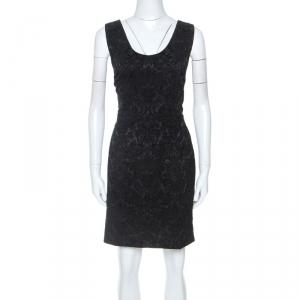 Dolce and Gabbana Black Stretch Satin Brocade Short Dress L