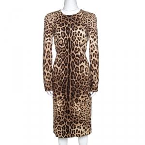 Dolce & Gabbana Brown Leopard Print Silk Sheath Dress M