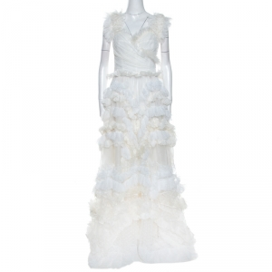 Dolce & Gabbana Off White Silk Feather Trim Ruffle Detail Gown L