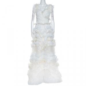 Dolce & Gabbana Off White Silk Feather Trim Ruffle Detail Gown M