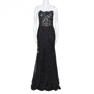 Dolce & Gabbana Black Floral Lace Bustier Detail Strapless Gown M - used