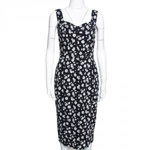 Dolce & Gabbana Monochrome Floral Printed Crepe Sleeveless Sheath Dress M