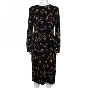 Dolce & Gabbana Black Keys Print Silk Long Sleeve Sheath Dress L