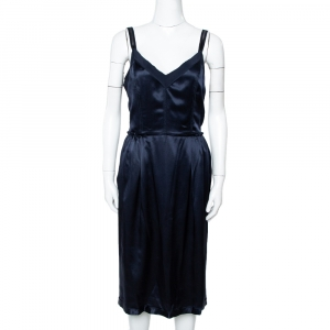 Dolce & Gabbana Navy Blue Silk Satin Sleeveless Dress L