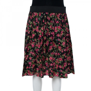 Dolce & Gabbana Black Floral Printed Cotton Flared Skirt M