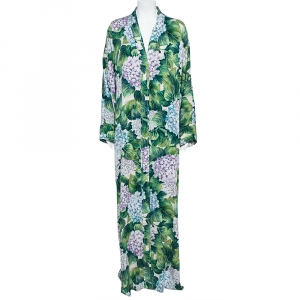 Dolce & Gabbana Green Ortensia Print Silk Maxi Robe Dress M