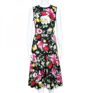Dolce & Gabbana Black Stretch Cotton Floral Print Flared Dress M