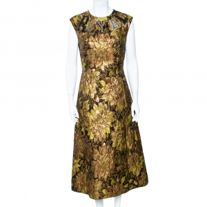 Dolce & Gabbana Gold Floral Jacquard Royal Embellished Midi Dress M