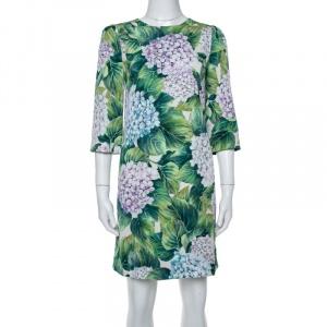 Dolce & Gabbana Green Hydrangea Print Silk Shift Dress S