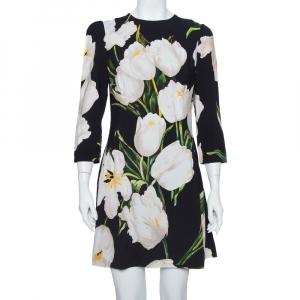 Dolce & Gabbana Black Printed Crepe Sheath Dress XL