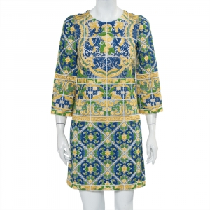 Dolce & Gabbana Multicolor Guipure Lace Shift Dress S