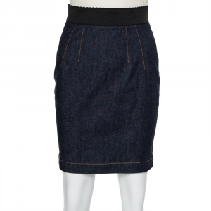 Dolce & Gabbana Navy Blue Denim Elastic Waist Band Detail Mini Skirt S