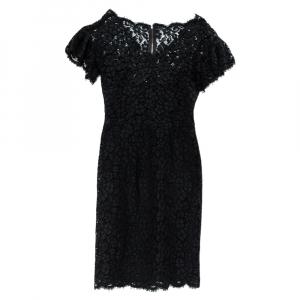 Dolce & Gabbana Black Lace Ruffled Sleeve Sheath Dress XS