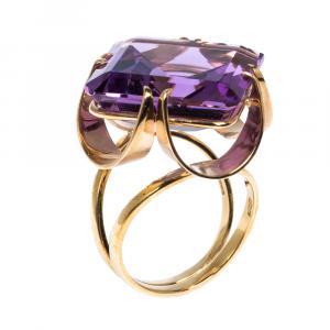 Dolce & Gabbana Anna Amethyst 18k Yellow Gold Ring Size 52