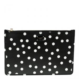 Dolce and Gabbana Black Leather Polka Dot 10CC Pouch