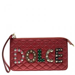Dolce and Gabbana Red Quilted Logo Studded Pouch