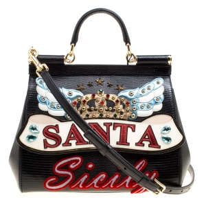 Dolce and Gabbana Black Leather Medium Sicily Santa Top Handle Bag