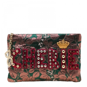 Dolce and Gabbana Multicolor Jacquard and Lizard Cleo Cherie Pouch