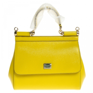 Dolce & Gabbana Yellow Leather Small Miss Sicily Top Handle Bag