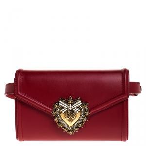 Dolce & Gabbana Red Leather Devotion Belt Bag