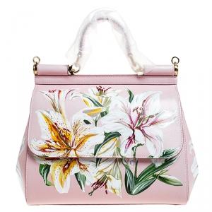 Dolce and Gabbana Pink Lilium Print Leather Medium Miss Sicily Top Handle Bag