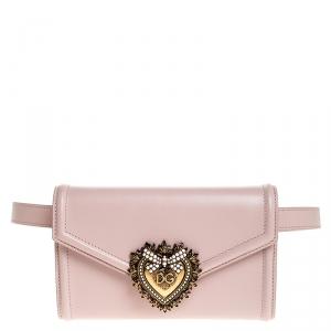 Dolce and Gabbana Blush Pink Leather Devotion Belt Bag
