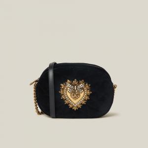 Dolce & Gabbana Black Devotion Embellished Velvet Camera Bag