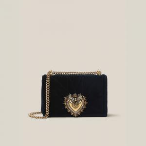 Dolce & Gabbana Black Devotion Quilted Velvet Crossbody Bag
