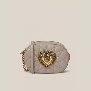 Dolce & Gabbana Grey Devotion Quilted Leather Camera Bag
