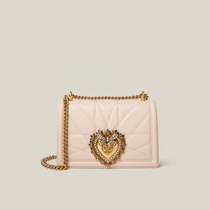 Dolce & Gabbana Pink Devotion Crystal-Embellished Leather Shoulder Bag