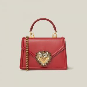 Dolce & Gabbana Red Devotion Mini Embellished Leather Top Handle Bag