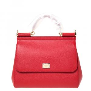 Dolce & Gabbana Red Leather Miss Sicily Bag