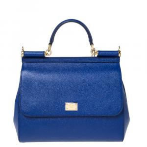 Dolce & Gabbana Navy Blue Leather Miss Sicily Bag