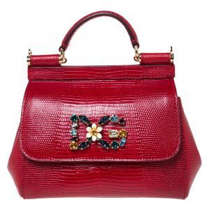 Dolce & Gabbana Red Iguana Embossed Leather Crystal DG Logo Mini Miss Sicily Bag